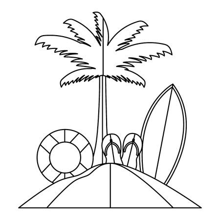beach palm lifebuoy surfboard paper origami