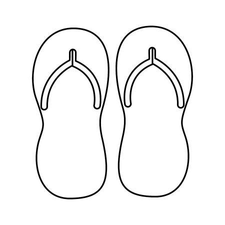 Accesorio de chanclas sobre fondo blanco. Ilustración de vector