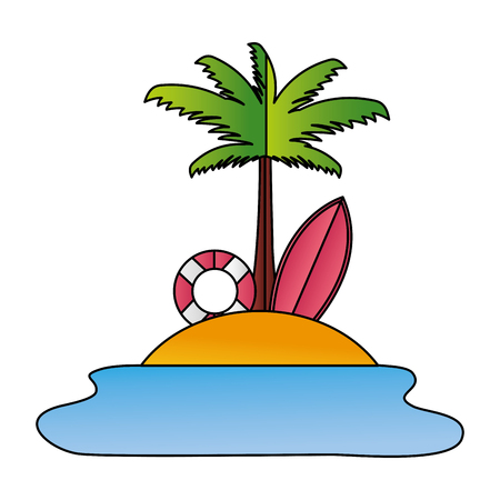 beach palm lifebuoy surfboard paper origami vector illustration