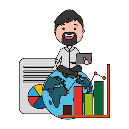 man with laptop world statistics information big data