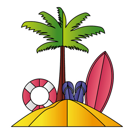beach palm float sandals and surfboard paper origami vector illustration