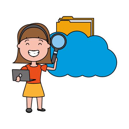 woman with cloud computing folder analysis big data