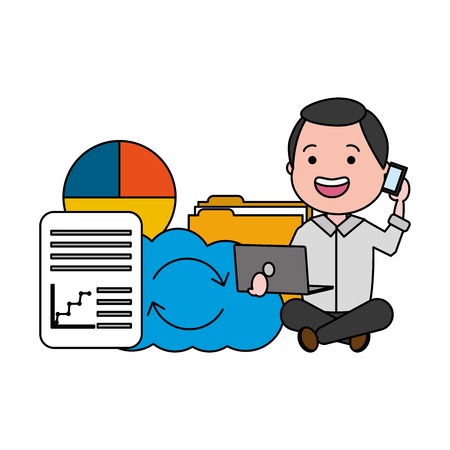 man with cellphone laptop cloud storage report big data Иллюстрация