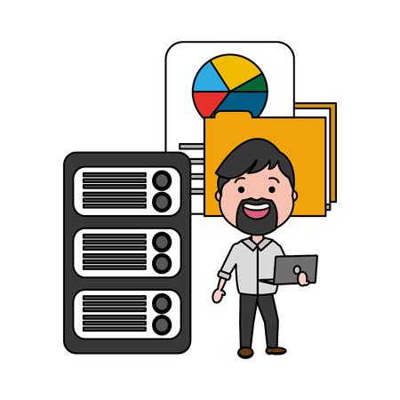 man with laptop folder report big data