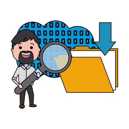 man with magnifying glass binary folder big data
