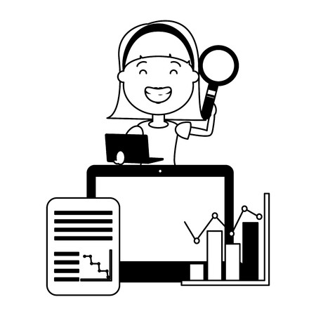 woman with laptop magnifying glass information big data vector illustration