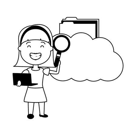 woman with cloud computing folder analysis big data vector illustration