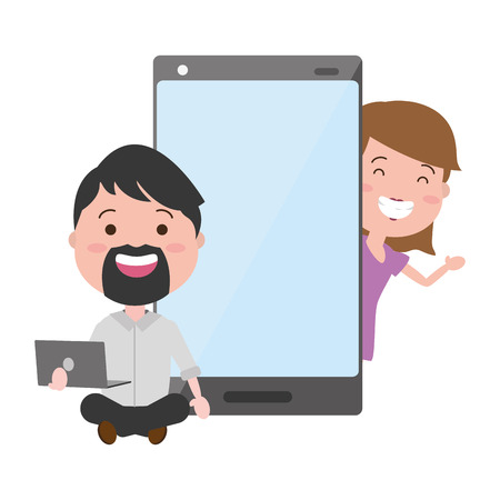 man with laptop and woman cellphone tech devices vector illustration Banque d'images - 124834878