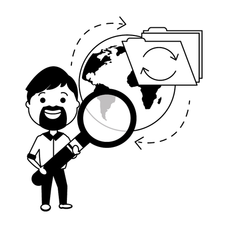 man with magnifying glass world file big data vector illustration