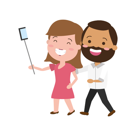smiling couple taking selfie cellphone with stick vector illustration Stock Vector - 124834883