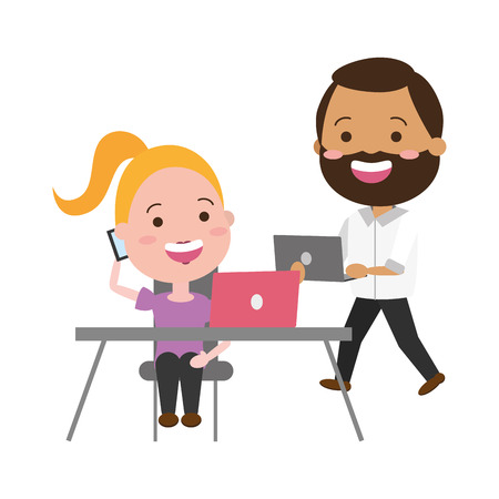 young woman and man office laptop tech device vector illustration Banque d'images - 117914800