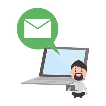 Hombre con laptop enviando correo electrónico dispositivo tecnológico ilustración vectorial