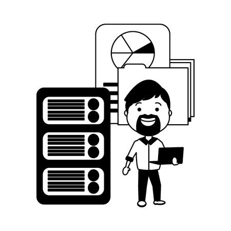 man with laptop folder report big data vector illustration
