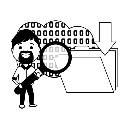 man with magnifying glass binary folder big data vector illustration