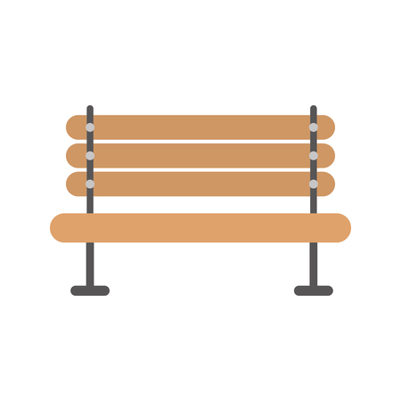 wooden bench furniture on white background vector illustration