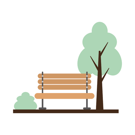 wooden bench tree bush park vector illustration