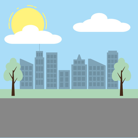 cityscape buildings tree street sky vector illustration Stock Illustratie
