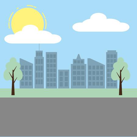 paisaje urbano, edificios, árbol, calle, cielo, vector, ilustración