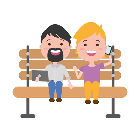 people with mobile laptop on bench vector illustration