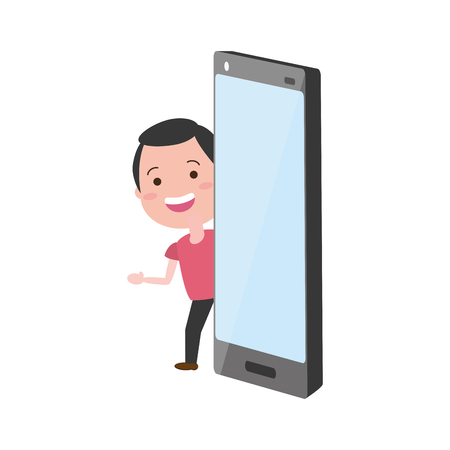 young man with smartphone tech device vector illustration