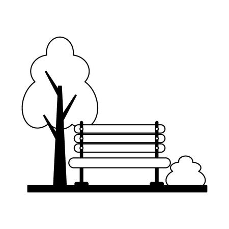 wooden bench tree bush park vector illustration Foto de archivo - 124834913
