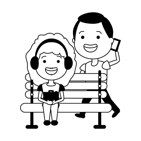 girl using earphones and man with mobile on bench vector illustration Illustration