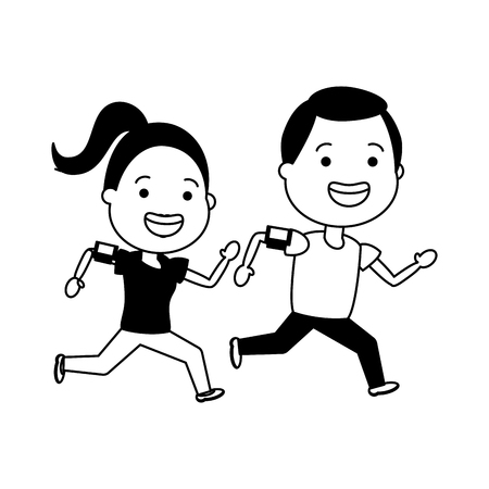 sport man and woman run smart devices vector illustration 向量圖像