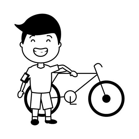 young boy with bike earphones cellphone vector illustration Illusztráció