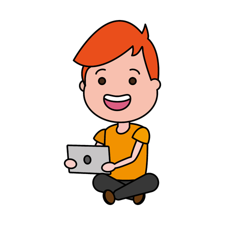guy sitting with laptop tech device vector illustration