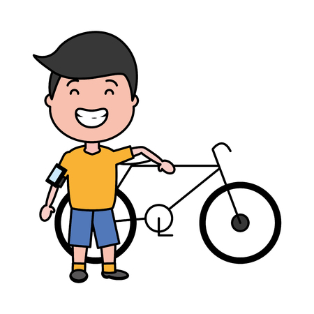young boy with bike earphones cellphone vector illustration Illustration