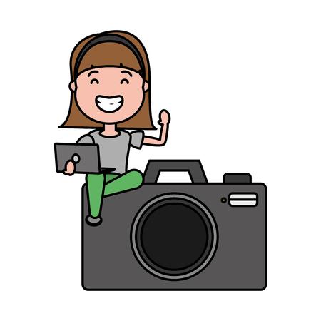 woman sitting on camera with laptop tech device vector illustration Ilustração