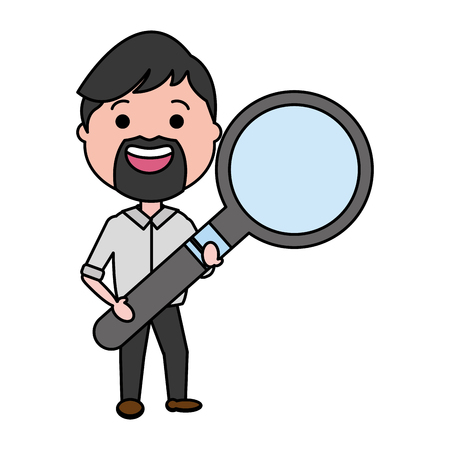man with magnifying glass analysis vector illustration