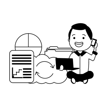 man with cellphone laptop cloud storage report big data vector illustration