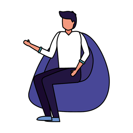man sitting on beanbag chair vector illustration