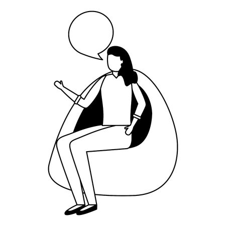 woman talking sitting on beanbag chair vector illustration