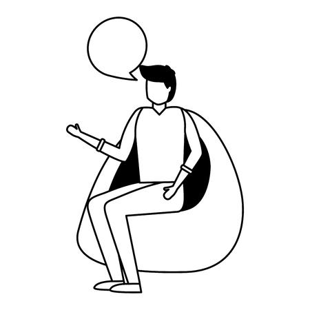 man talking sitting on beanbag chair vector illustration Ilustração
