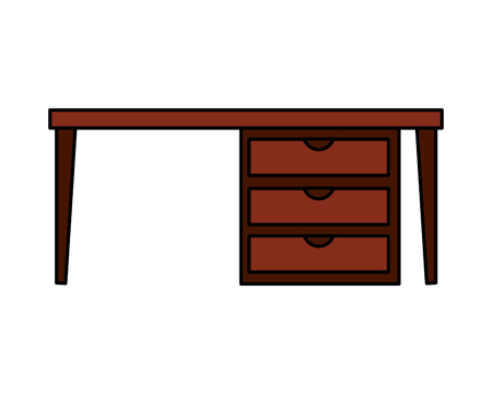 office desk drawers on white background vector illustration