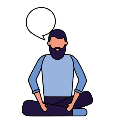 man sitting talk speech bubble vector illustration