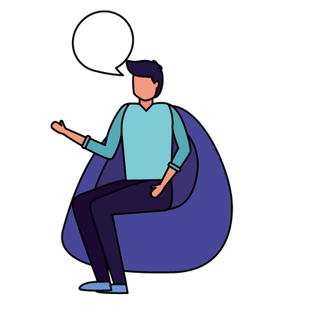 man talking sitting on beanbag chair vector illustration Ilustração