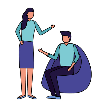 man sitting on beanbag chair and woman standing vector illustration
