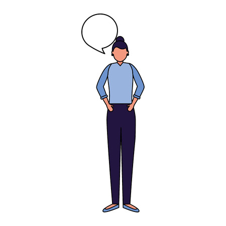 woman standing talk speech bubble vector illustration