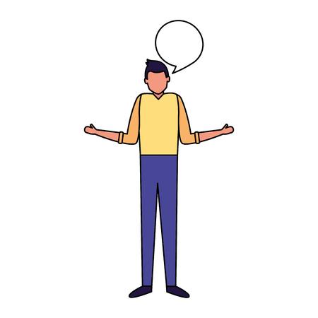 man standing talk speech bubble vector illustration Vektorové ilustrace