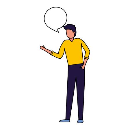 man standing talk speech bubble vector illustration