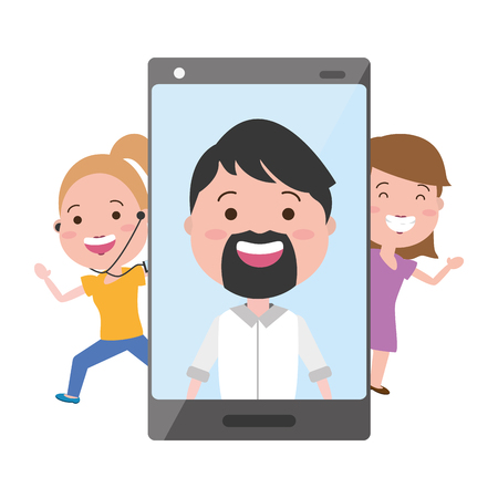 woman girl cellhpone man on screen tech device vector illustration Banque d'images - 117914893