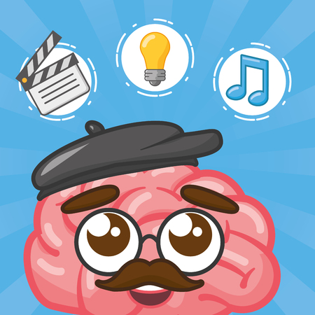 cartoon brain creativity bulb music note vector illustration Foto de archivo - 117914897