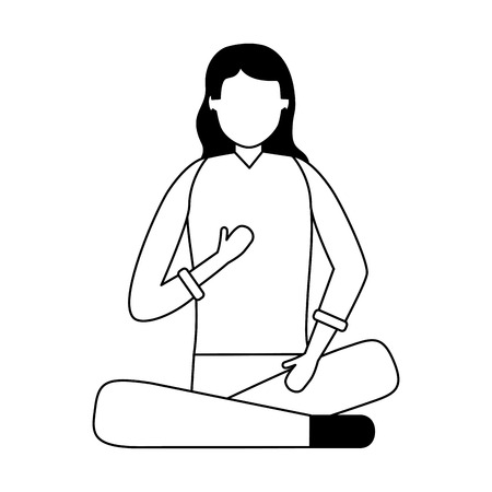 woman sitting on beanbag chair vector illustration