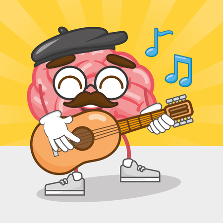 cartoon brain playing guitar music creativity vector illustration