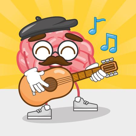 Cartoon Gehirn spielt Gitarre Musik Kreativität Vektor-Illustration