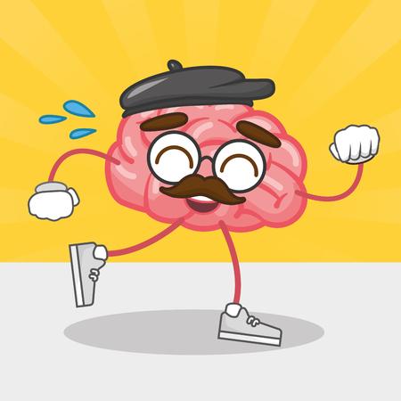 cartoon brain creativity running character vector illustration Illustration