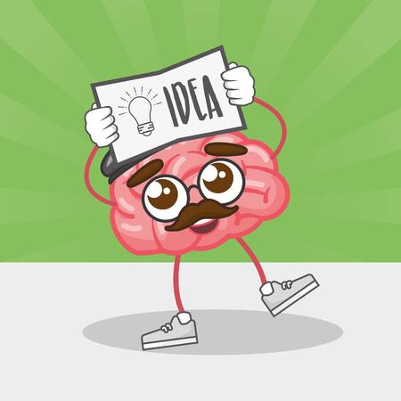 cartoon brain with idea poster creativity vector illustration